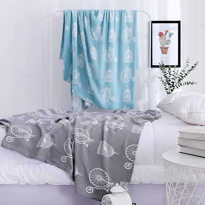 Bamboo viscose single layer smooth cooling throw blanket for children and adults