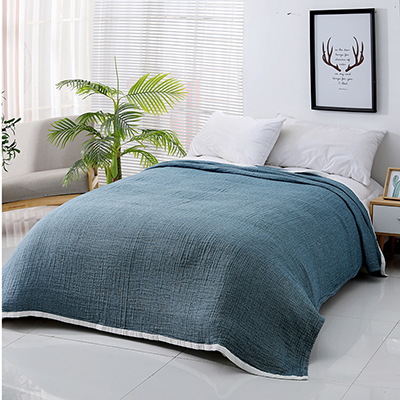 Pure Cotton Solid Color Three Layer Bedding Blanket Throw Blanket