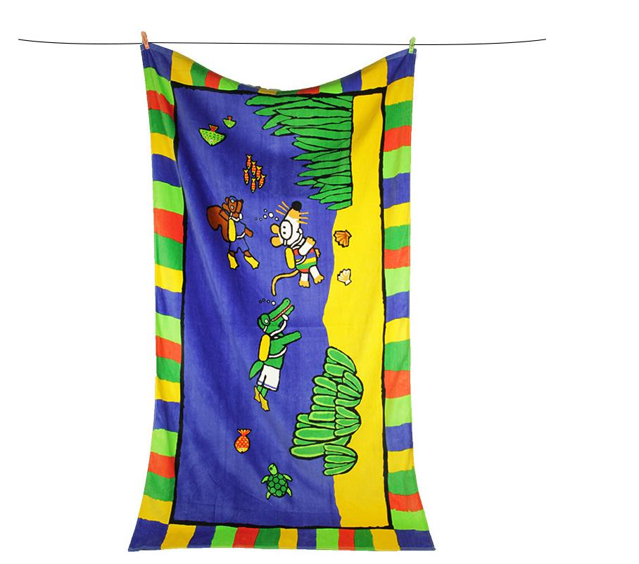 Children Animal Colorful Design  Cotton Material Beach Towel